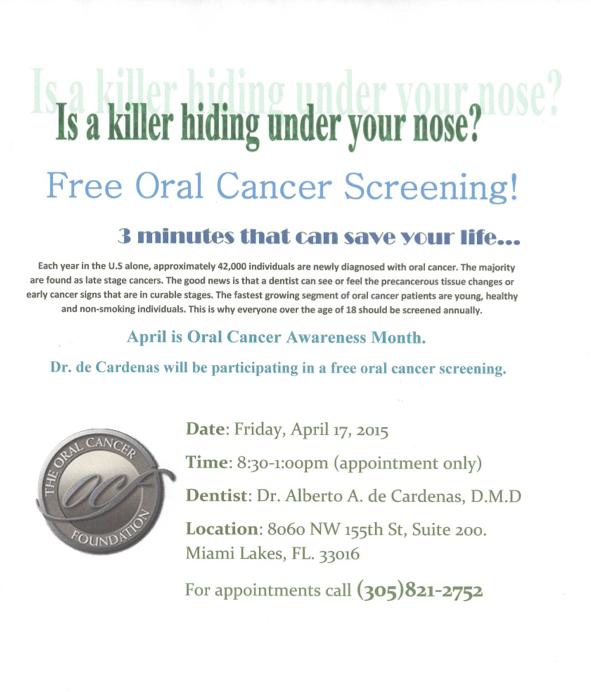free oral cancer screening miami lakes dentist